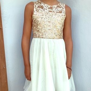 Rare Edition Gold and Cream Flare Dress